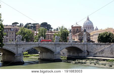Rome, Italy. View of Vittorio Emanuele II Bridge