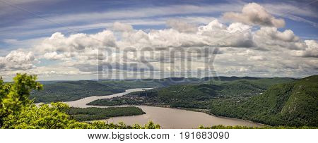 Over looking Hudson Riverp from Breakneck ridge trail near Cold Spring NY during summer hiking