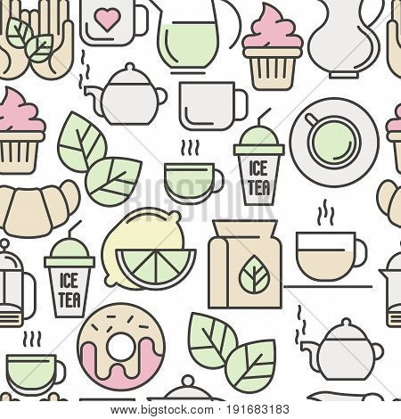Seamless pattern of tea, tea ceremony and sale of tea beverages. Thin line vector illustration for web site background, banners and printed materials.