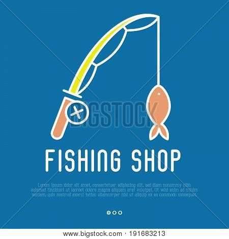Logo for fishing shop with fishing rod in thin line style. Simple minimalistic vector illustration.