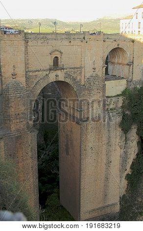 View of the Puenta Nuevo (new bridge) in Ronda, Andalucia Spain.