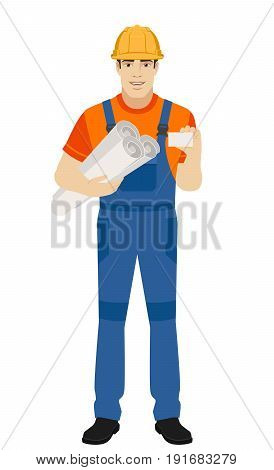 Builder holding the project plans and showing business card. Full length portrait of builder character in a flat style. Vector illustration.