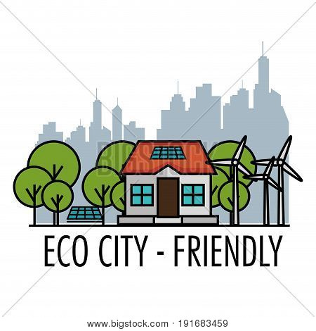 Eco friendly house with trees wind turbines solar panels and city skyline design over white background vector illustration