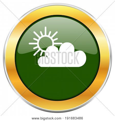 Cloud green glossy round icon with golden chrome metallic border isolated on white background for web and mobile apps designers.