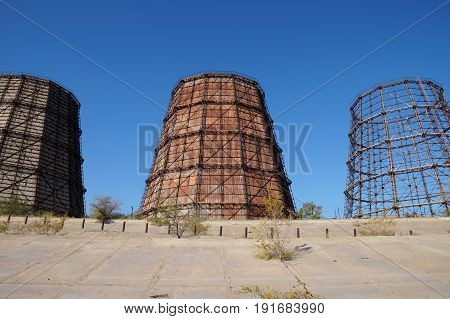 Industrial coolers in the territory of steel works in Volgograd