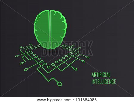 Artificial intelligence modern technology sign with cpu processor and brainl form machine learning self development concept. Vector illustration.