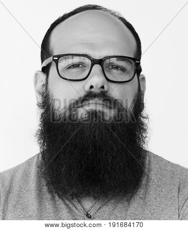 Confident beard man boldness casual studio portrait