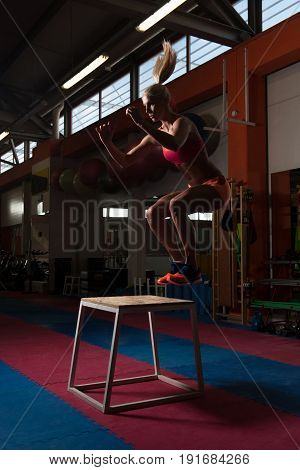 Young Fit Woman Doing Box Jumps In Gym