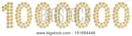 Arabic Numeral 1000000, One Million, From Cream Flowers Of Chrysanthemum, Isolated On White Backgrou
