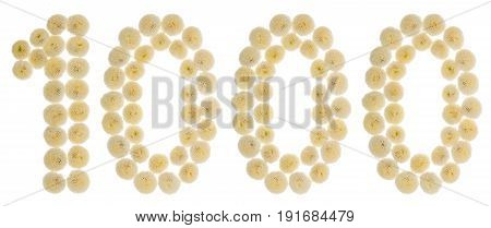 Arabic Numeral 1000, One Thousand, From Cream Flowers Of Chrysanthemum, Isolated On White Background