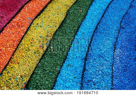 Pebble stones laid out in the form of a rainbow