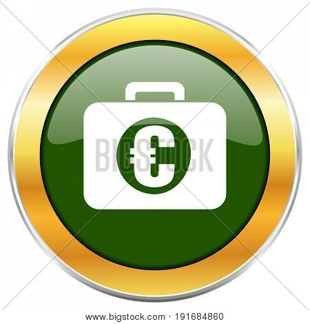 Financial green glossy round icon with golden chrome metallic border isolated on white background for web and mobile apps designers.