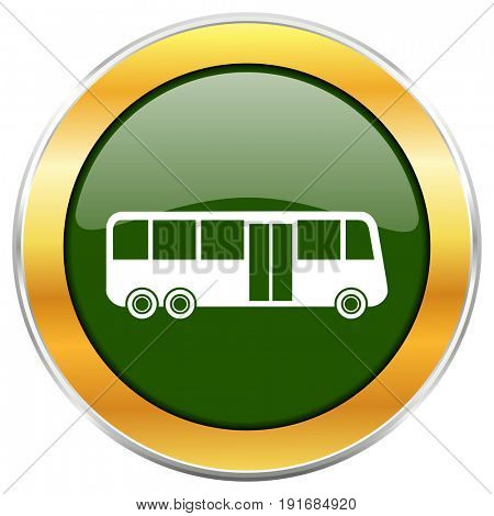 Bus green glossy round icon with golden chrome metallic border isolated on white background for web and mobile apps designers.