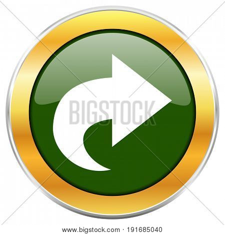 Next green glossy round icon with golden chrome metallic border isolated on white background for web and mobile apps designers.