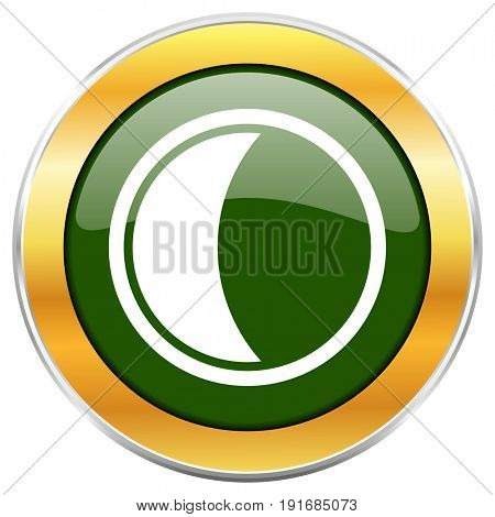 Moon green glossy round icon with golden chrome metallic border isolated on white background for web and mobile apps designers.