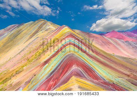 Vinicunca Montana de Siete Colores or Rainbow Mountain Pitumarca Peru