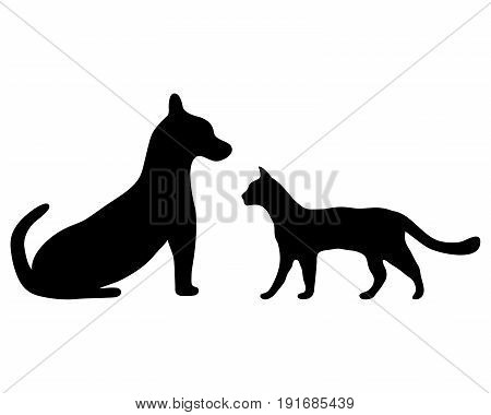 Silhouettes of a cat and a dog on white background