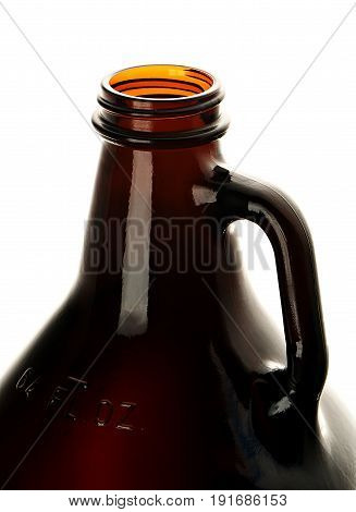 Open Beer Growler, Closeup on White Background