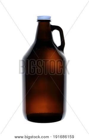 Homebrew Beer in Growler Isolated on White Background