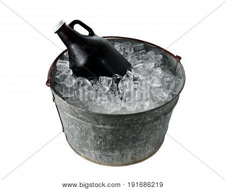 Beer Growler in Ice Bucket on White Background