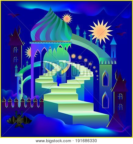 Illustration of a fairyland fantasy palace, vector cartoon image.