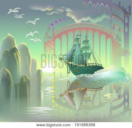 Illustration of fantastic ship in fairyland, vector cartoon image.