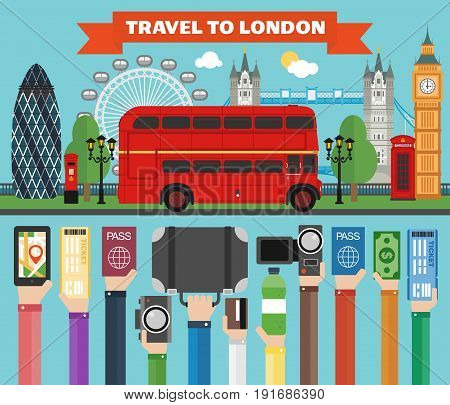 london travel concept design flat with busvector
