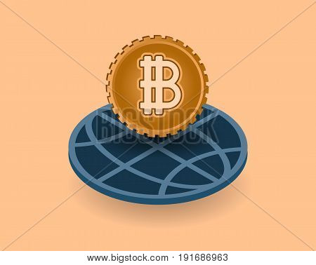Crypto currency with earth globe symbol modern global online banking commerce concept.  Financial market vector illustration.
