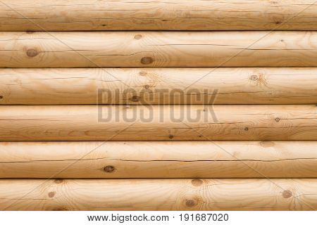 Wooden wall made of logs, backgroud texture.