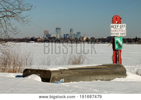 Dangerous Ice On Lake Calhoun In Minneapolis, Minnesota