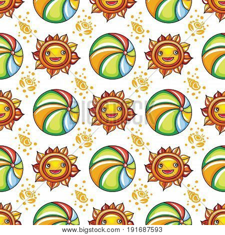 Vector summer pattern. Seamless texture with hand drawn doodle vacation objects: cute little sun with smiling face and colorful beach ball ocean waves silhouette of seashells and crabs. Vector travel background Marine vacation collection