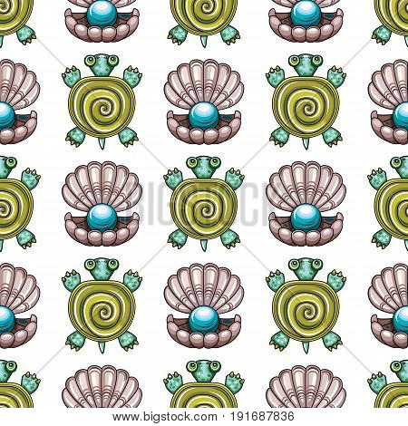 Sea travel seamless background with underwater diving animals. Cartoon turtle and open pearl shell. Vector marine pattern doodle summer vacation collection