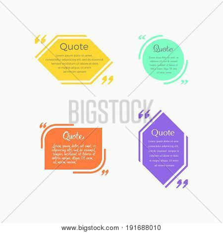 Quote blank template. Design elements, shapes business card template, information, text. Quote template for your design .