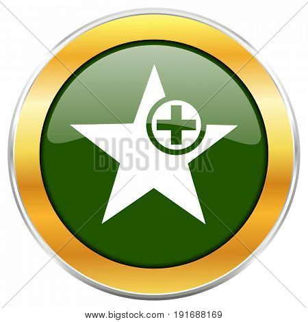 Star green glossy round icon with golden chrome metallic border isolated on white background for web and mobile apps designers.