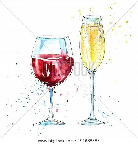 Glass of a champagne and red wine. Picture of a alcoholic drink.Watercolor hand drawn illustration.