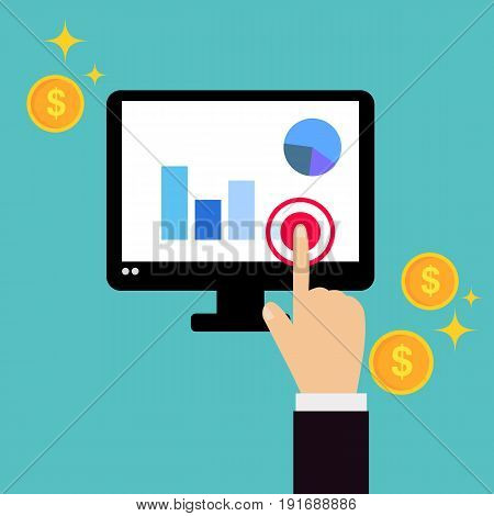 Business hand click on computer screen with business information and coins element vector