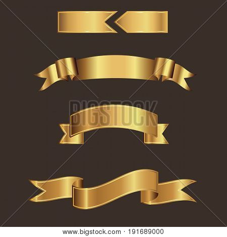 Gold ribbon banner vector with brown background.Ribbons for input text.