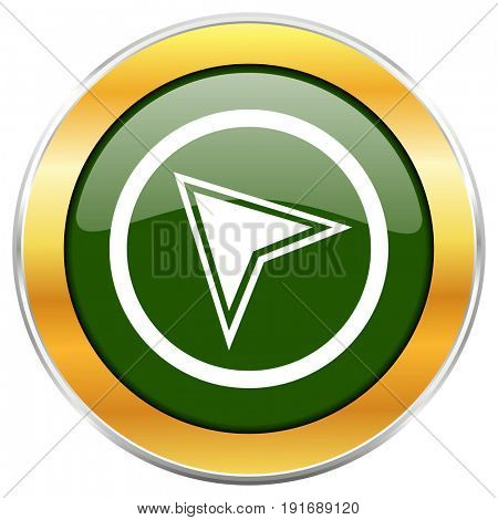 Navigation green glossy round icon with golden chrome metallic border isolated on white background for web and mobile apps designers.