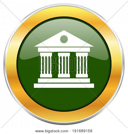Museum green glossy round icon with golden chrome metallic border isolated on white background for web and mobile apps designers.