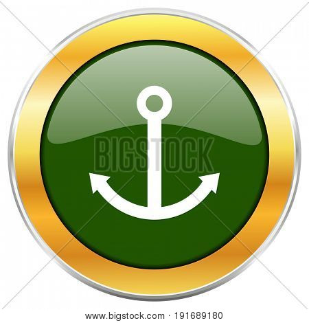 Anchor green glossy round icon with golden chrome metallic border isolated on white background for web and mobile apps designers.