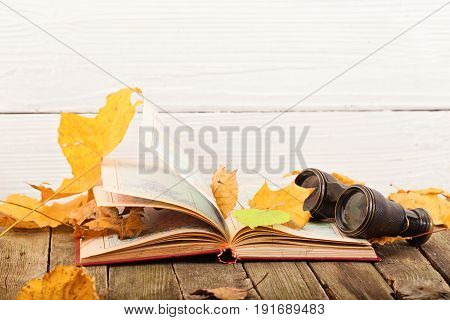 The open book and field-glass in yellow autumn leaves. The book lies on old gray boards a white wooden back