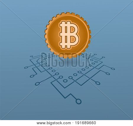Crypto currency symbol modern online banking commerce concept.  Financial market vector illustration.
