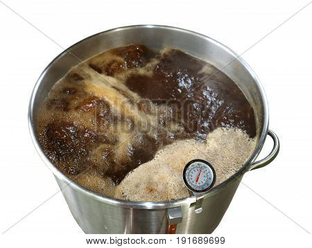 Boiling Wort For Home Brewed Brown Ale On White Background