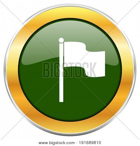 Flag green glossy round icon with golden chrome metallic border isolated on white background for web and mobile apps designers.