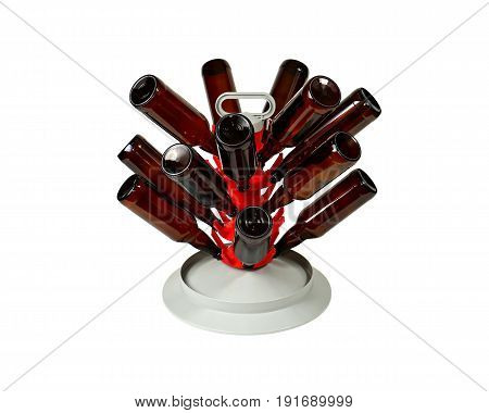 Beer Bottle Tree With Bottles On White Background
