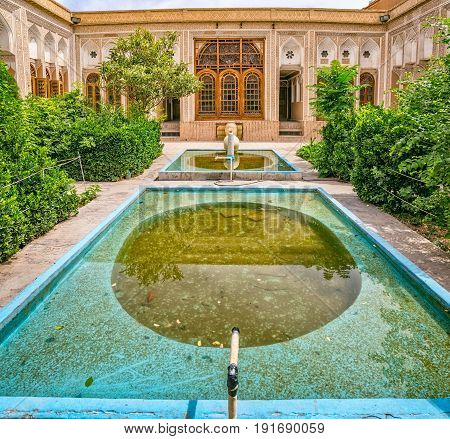YAZD, IRAN - MAY 5, 2015: Inner courtyard of the water museum in old city.