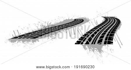 Seamless tire tracks, tread marks vector set. Mark from tire, illustration of print tire
