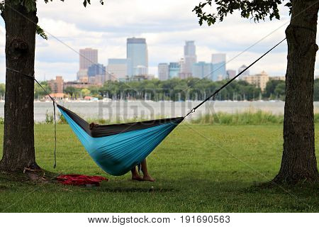 Hammocking in Minneapolis at Lake Calhoun Park