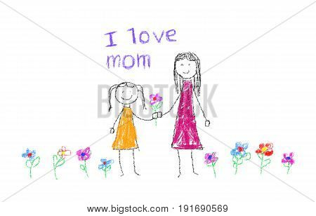 Child drawing about Mother's day as illustration