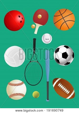 sport, fitness, game, sports equipment and objectsof different sports balls set